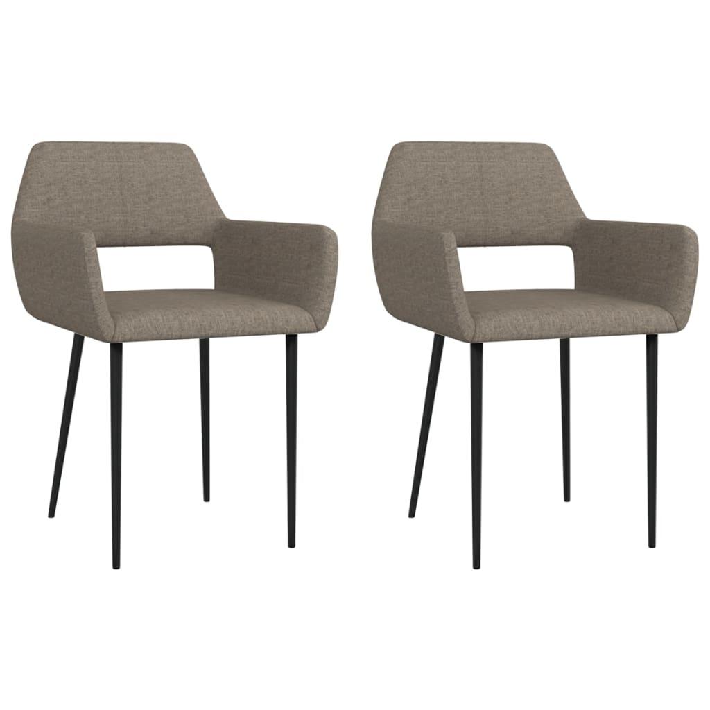 vidaXL Krzesła stołowe, 2 szt., taupe, tapicerowane tkaniną