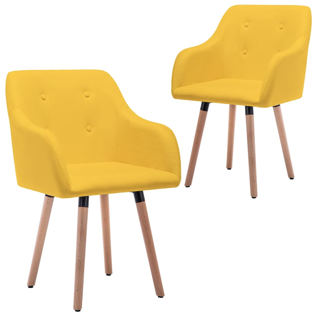 vidaXL Blagovaonske stolice od tkanine 2 kom boja senfa