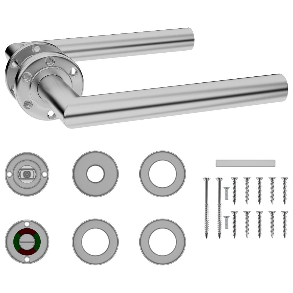 vidaXL Dveřní kování s WC rozetou s pojistkou nerezová ocel