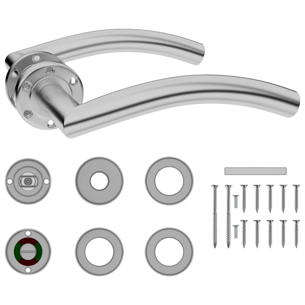 vidaXL Zaoblená dveřní klika s kováním WC zámek nerezová ocel