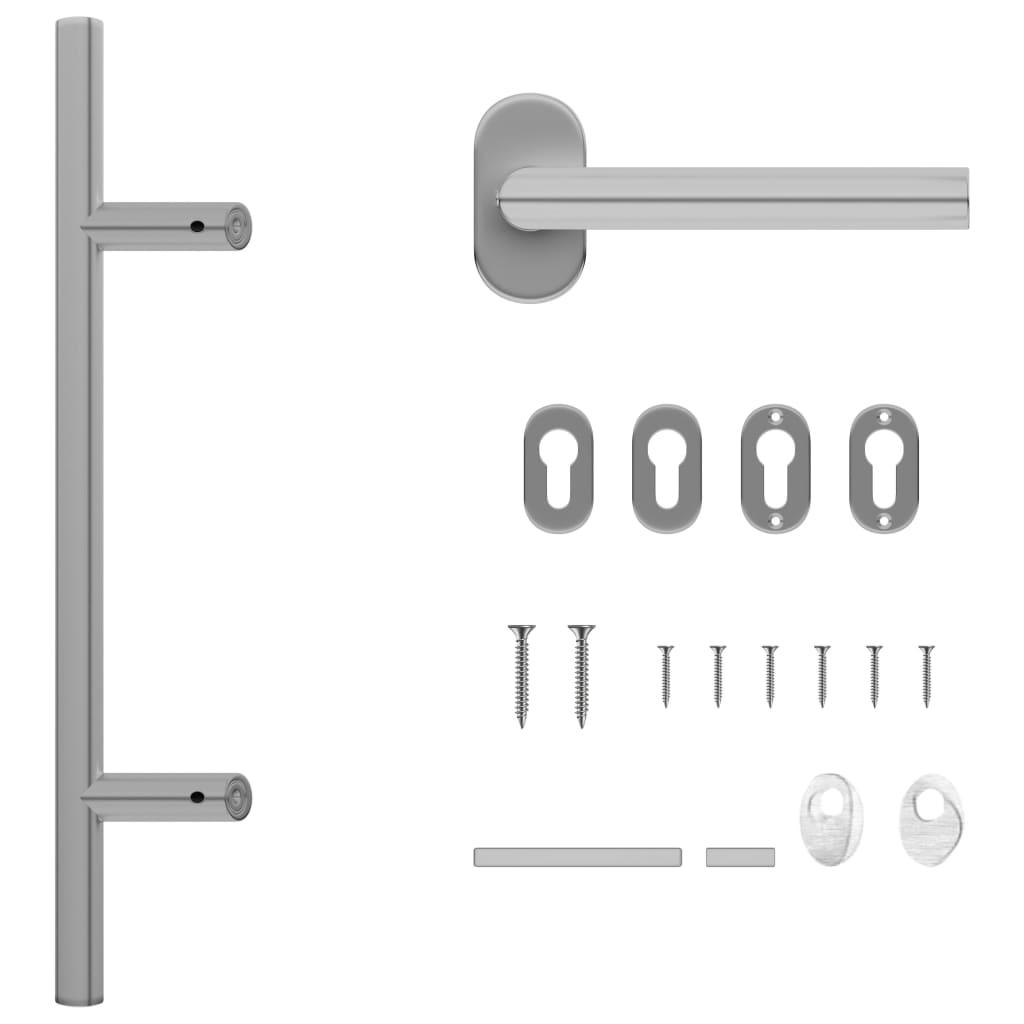 vidaXL Set de mâner și bară pentru ușă PZ 500 mm oțel inoxidabil imagine vidaxl.ro