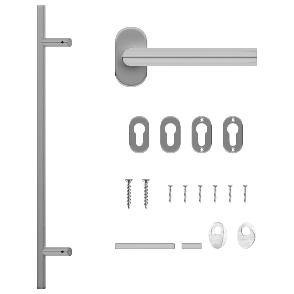 vidaXL Set de mâner și bară pentru ușă PZ 800 mm oțel inoxidabil imagine vidaxl.ro