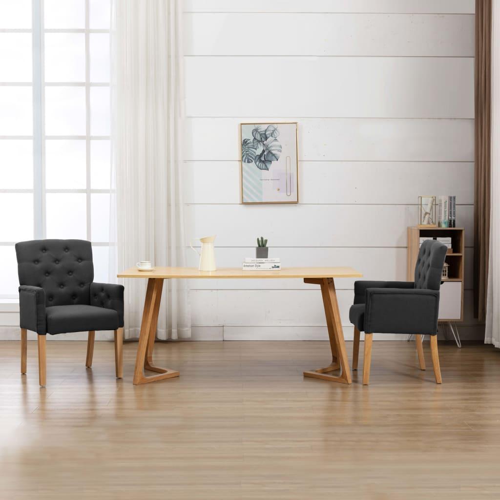 vidaXL Krzesło stołowe z podłokietnikami, szare, obite tkaniną