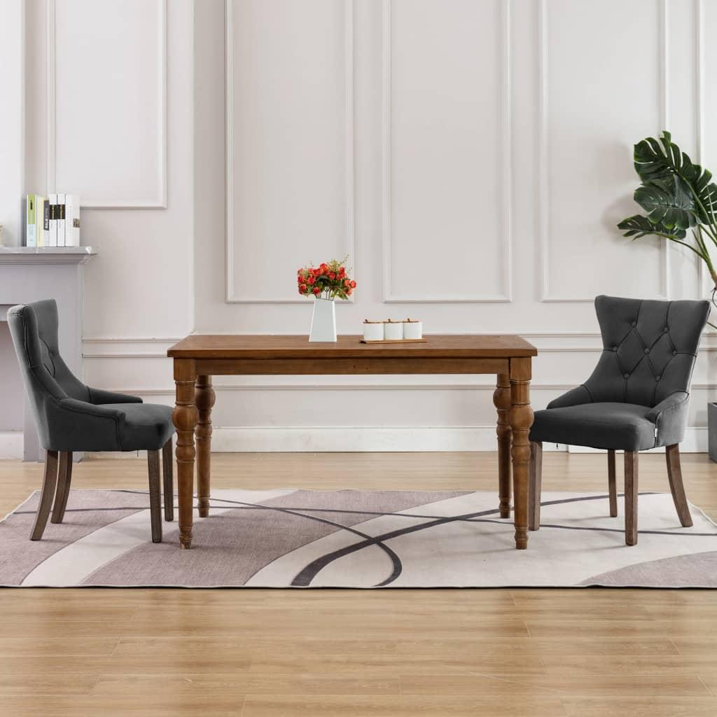 vidaXL Blagovaonske stolice od tkanine 2 kom sive