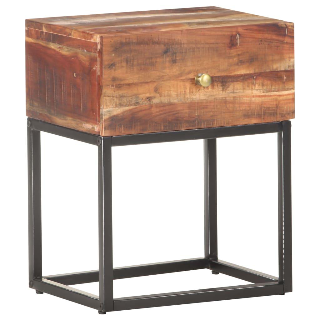 Noční stolek 40 x 30 x 50 cm hrubé akáciové dřevo