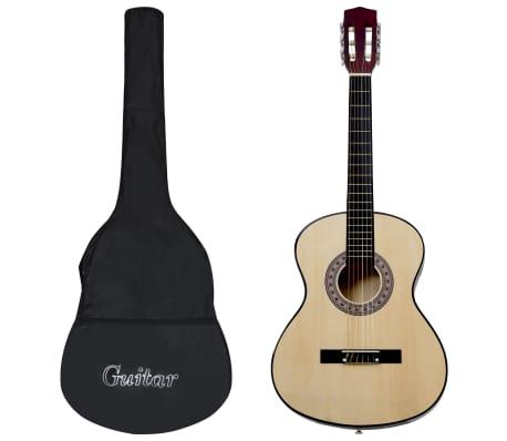 """vidaXL Gitarr för nybörjare med fodral klassisk 4/4 39"""""""
