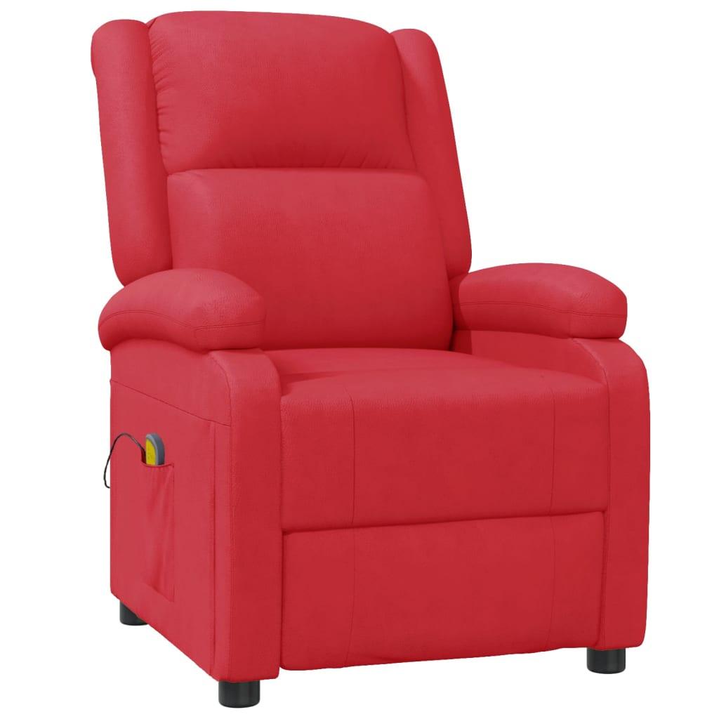 vidaXL Fotoliu de masaj rabatabil, roșu, piele ecologică imagine vidaxl.ro