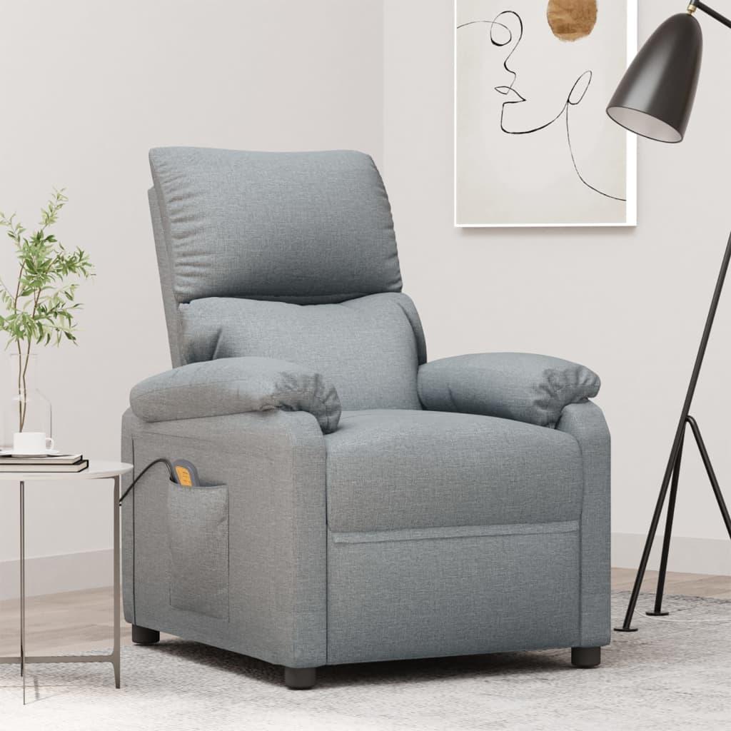 vidaXL Fotoliu de masaj rabatabil, gri deschis, material textil imagine vidaxl.ro