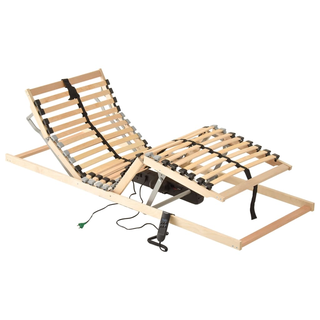 vidaXL Bază de pat electrică cu șipci, 28 șipci, 7 zone, 90 x 200 cm