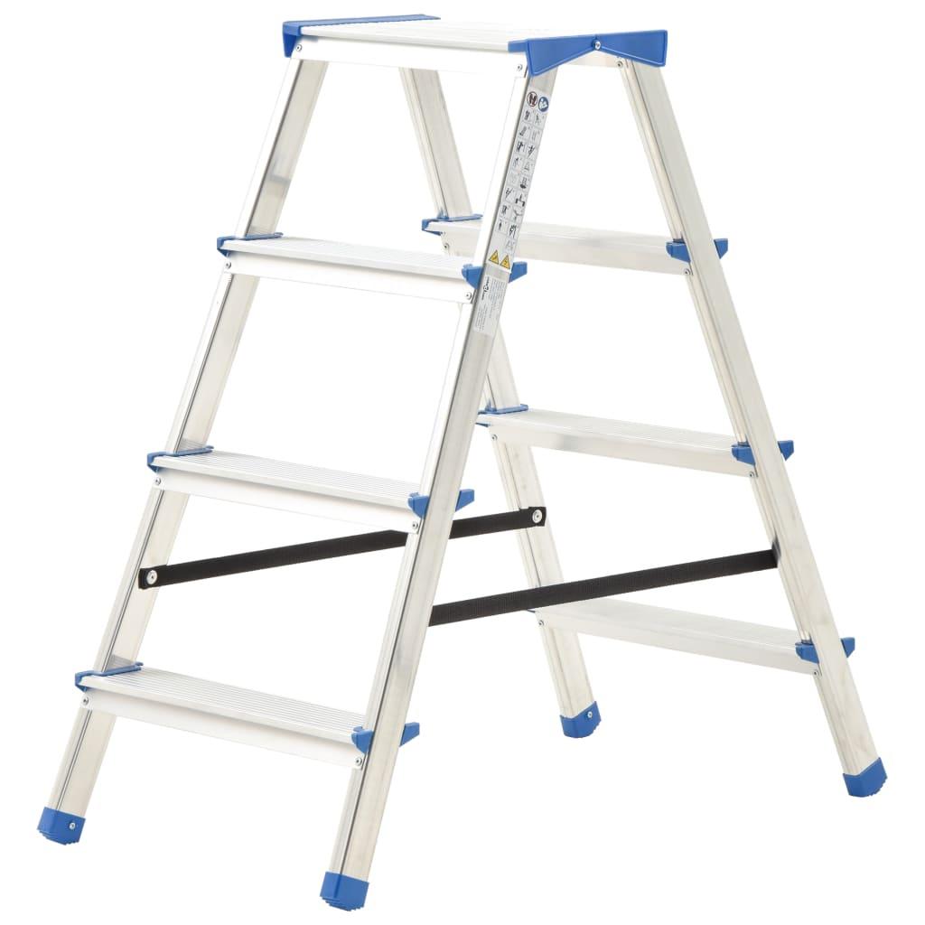 vidaXL Scară dublă cu 4 trepte, 90 cm, aluminiu vidaxl.ro