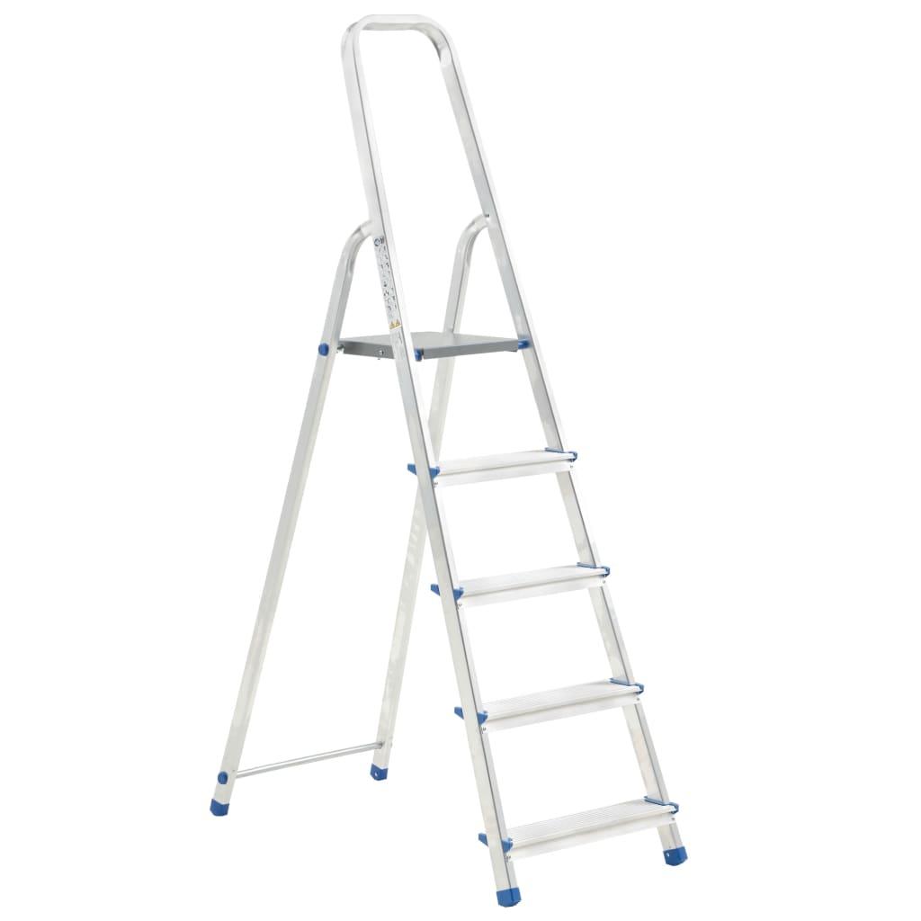 vidaXL Scară cu 5 trepte, 150 kg, aluminiu vidaxl.ro