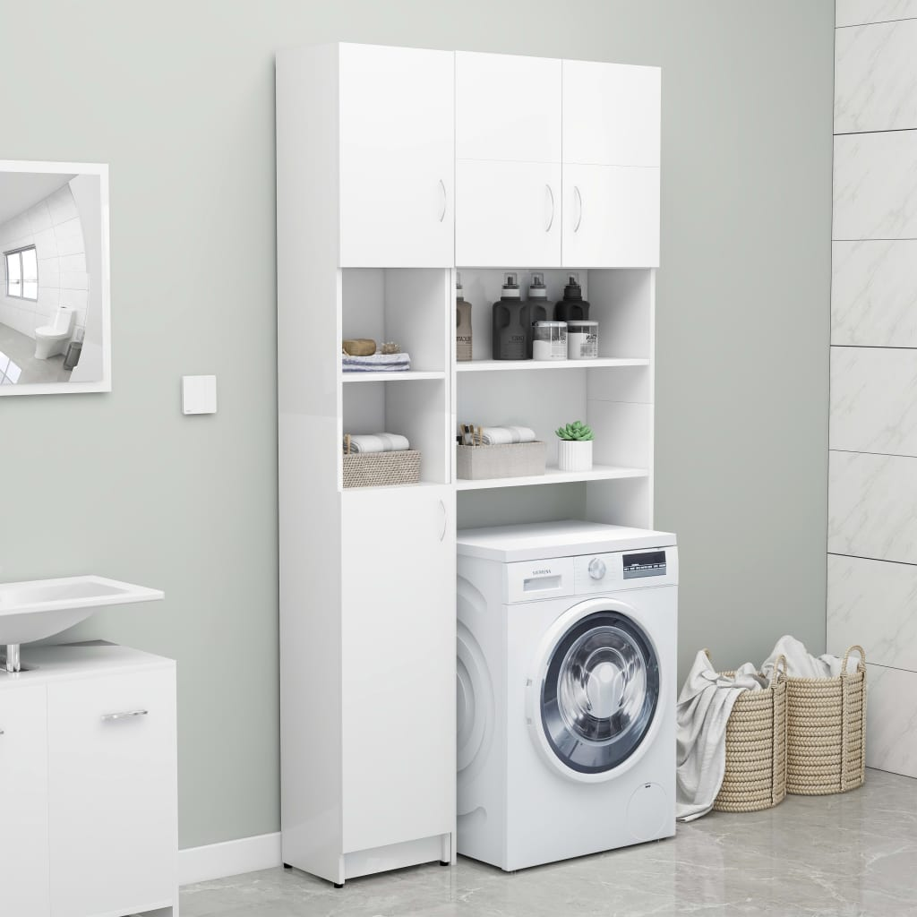 vidaXL Set dulap mașină de spălat, alb, PAL poza 2021 vidaXL