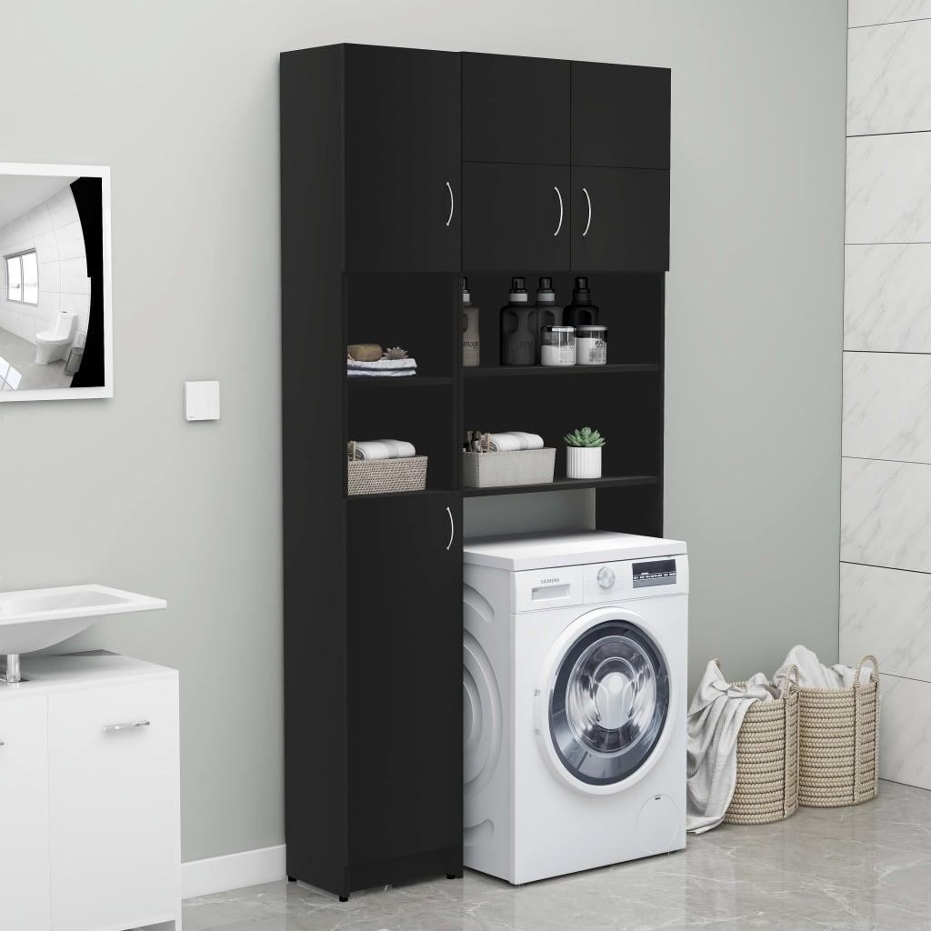 vidaXL Set dulap mașina de spălat, negru, PAL poza 2021 vidaXL