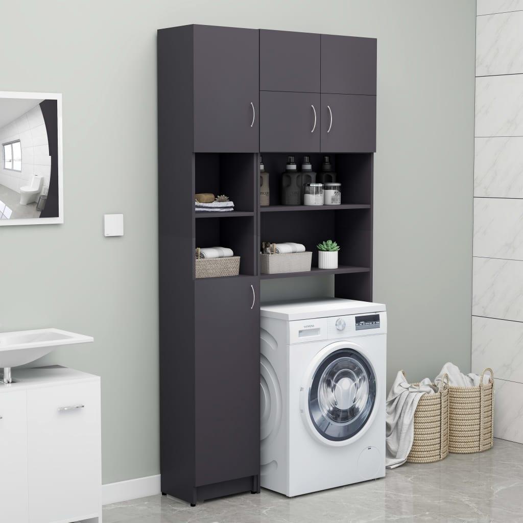 vidaXL Set dulap mașina de spălat, gri, PAL imagine vidaxl.ro