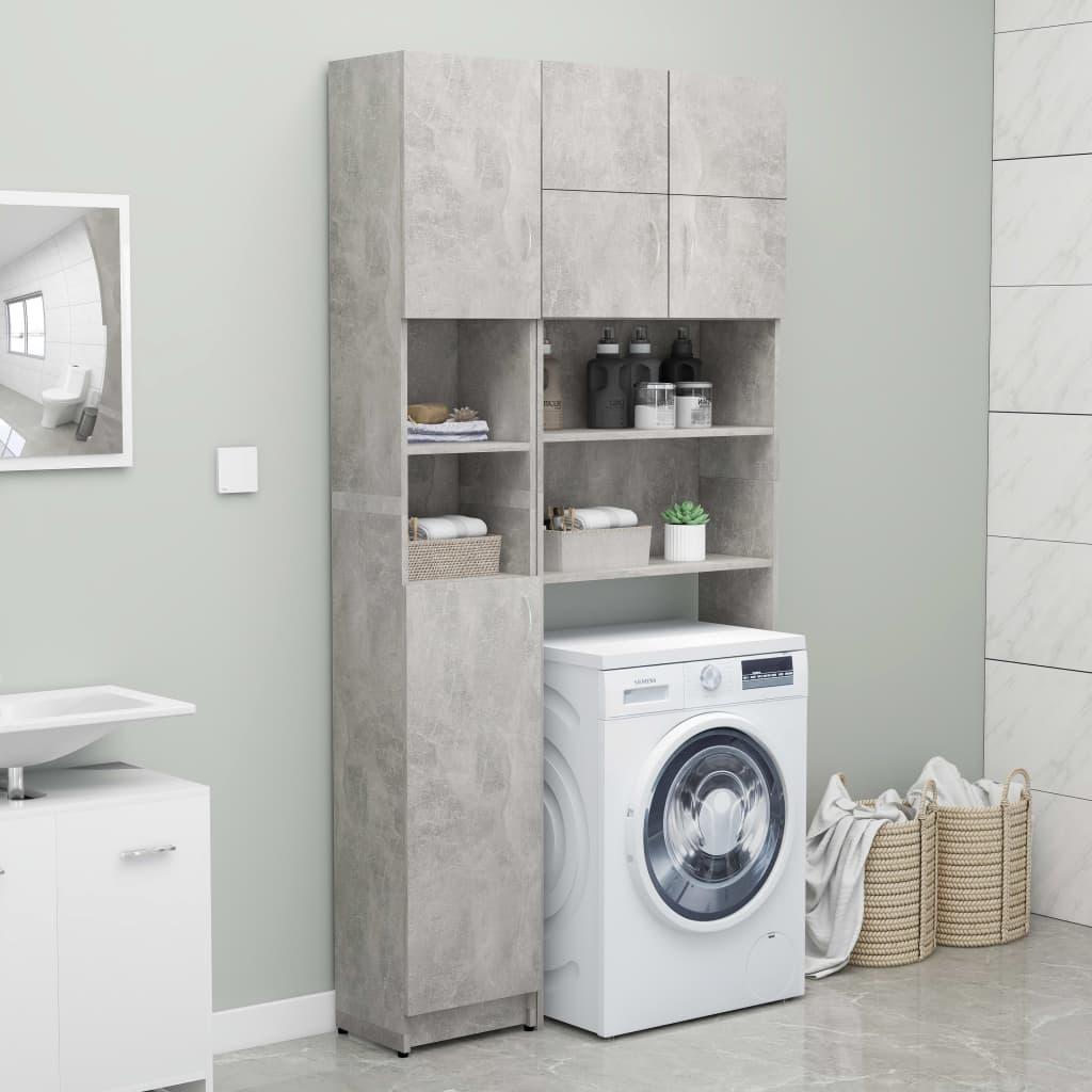 vidaXL Set dulap mașina de spălat, gri beton, PAL poza 2021 vidaXL