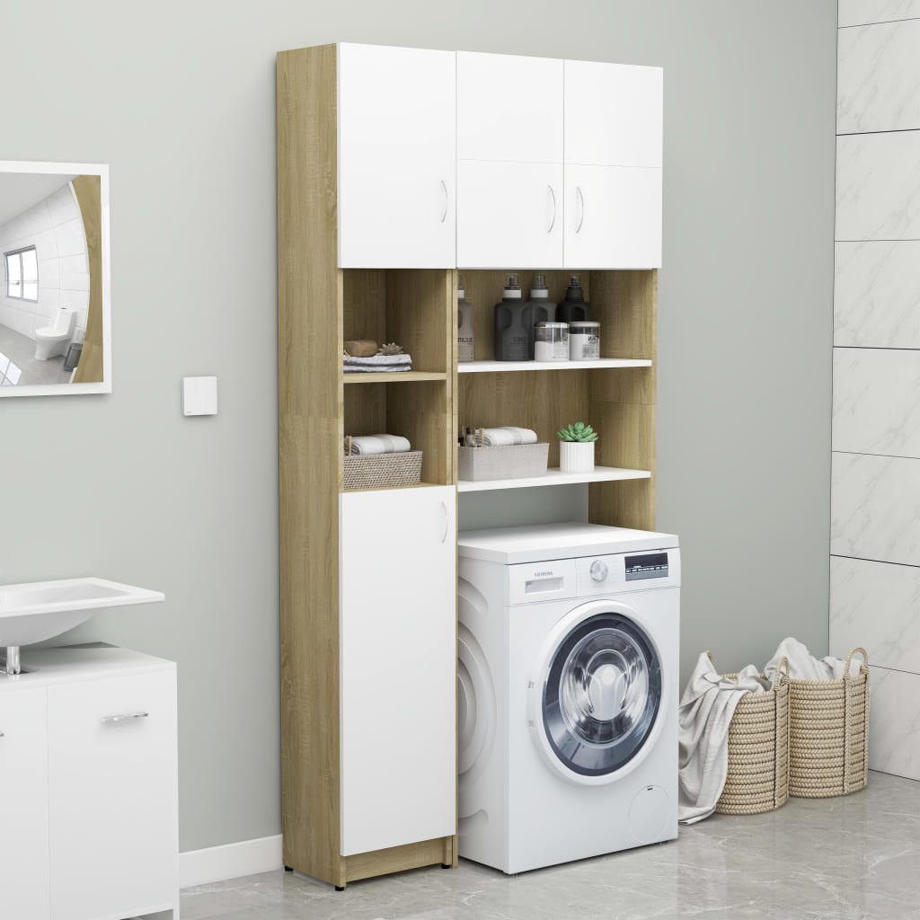 vidaXL Set dulap mașina de spălat, alb și stejar Sonoma, PAL poza 2021 vidaXL