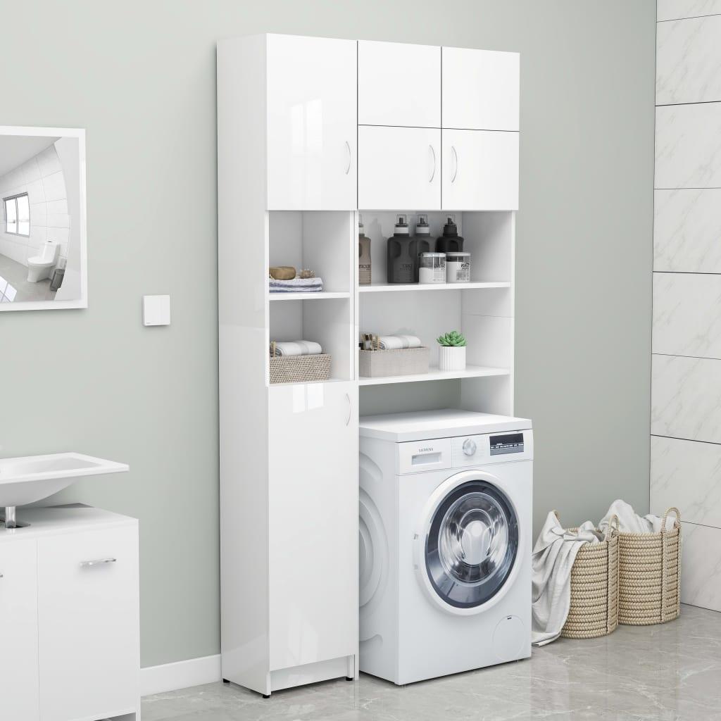 vidaXL Set dulap mașina de spălat, alb extralucios, PAL poza 2021 vidaXL