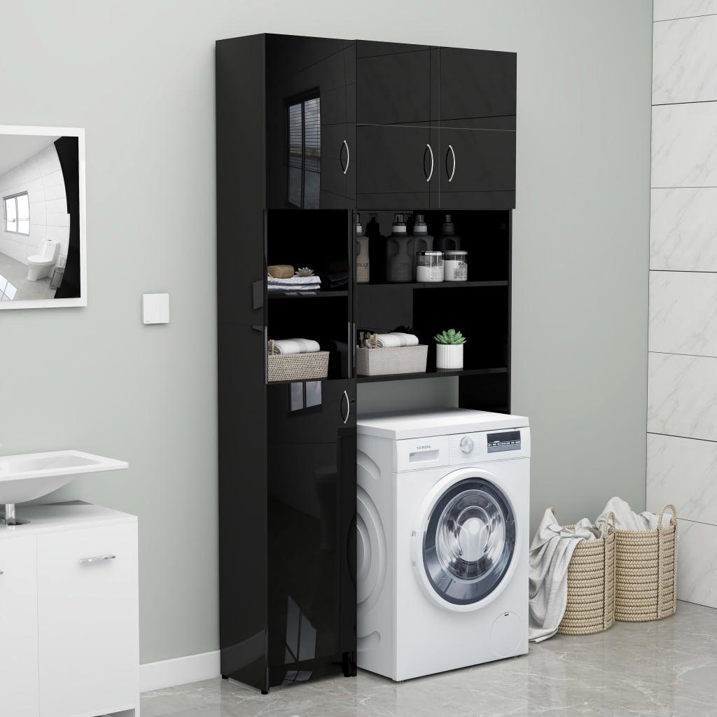 vidaXL Set dulap mașina de spălat, negru extralucios, PAL poza 2021 vidaXL