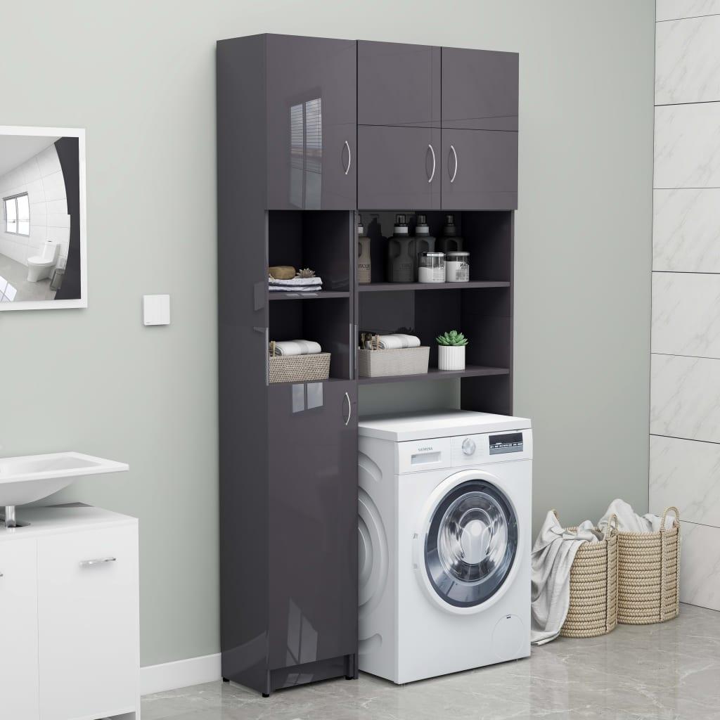 vidaXL Set dulap mașina de spălat, gri extralucios, PAL vidaxl.ro