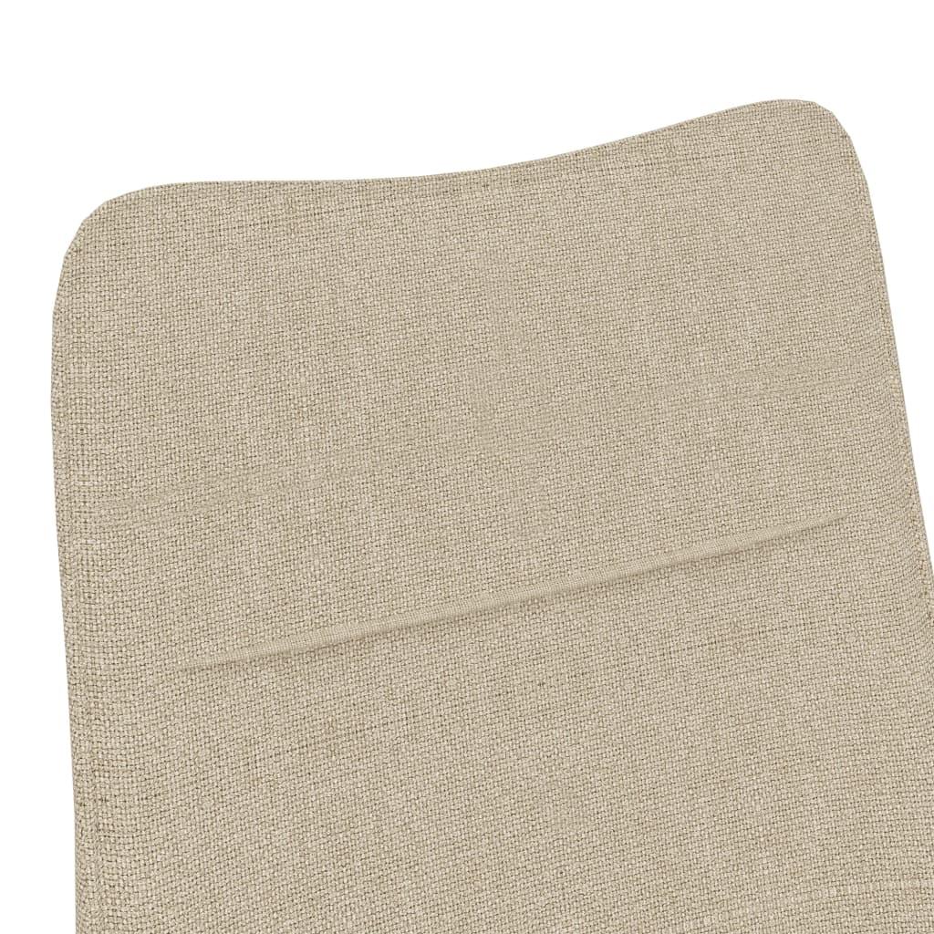 Fauteuil met voetenbank stof crèmekleurig
