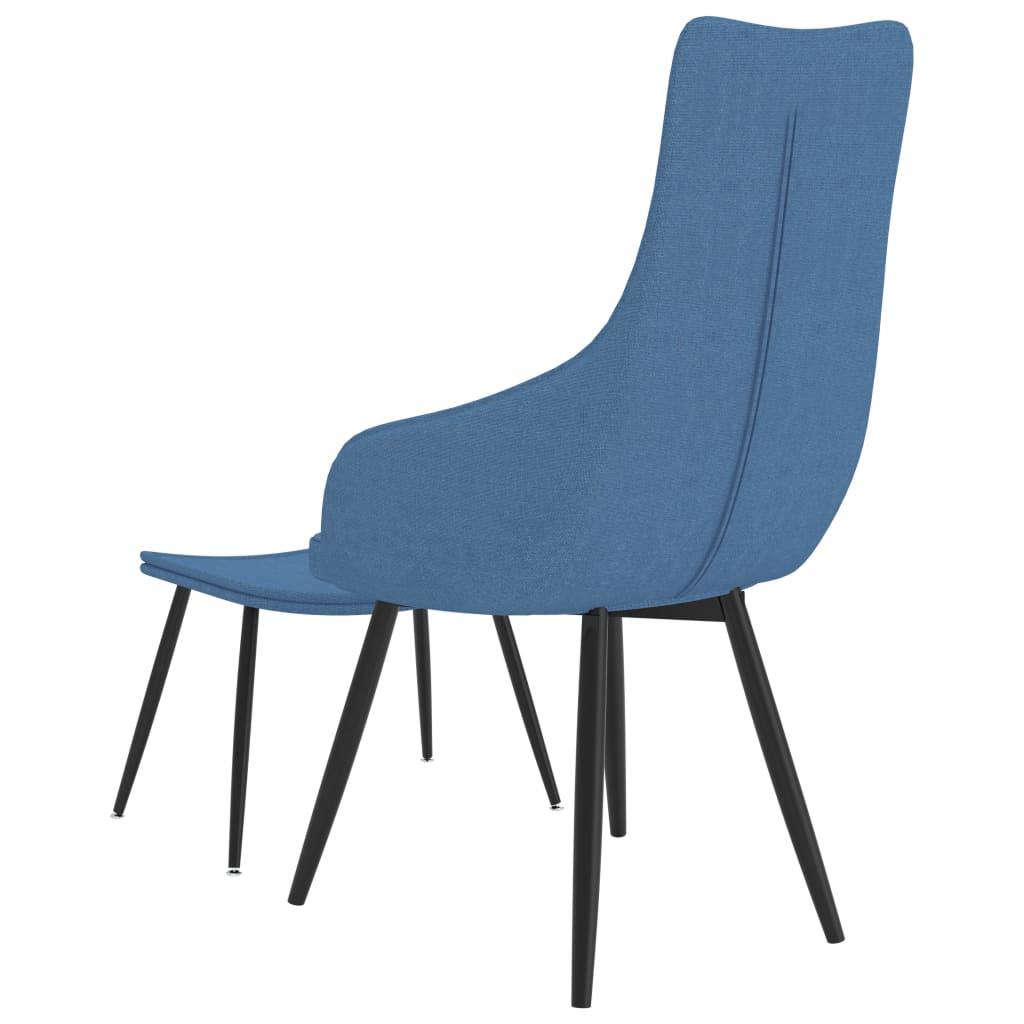 Fauteuil met voetenbank stof blauw