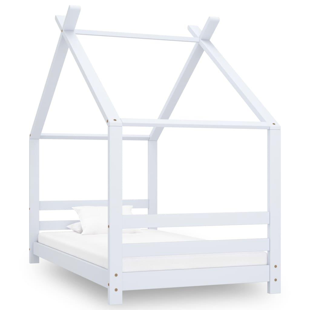vidaXL Cadru pat de copii, alb, 80 x 160 cm, lemn masiv de pin vidaxl.ro
