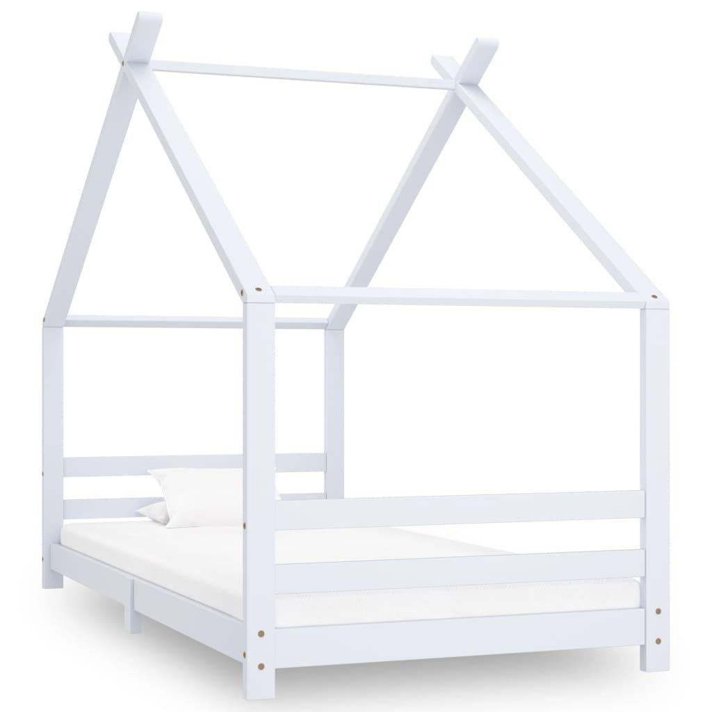 vidaXL Cadru pat de copii, alb, 90 x 200 cm, lemn masiv de pin vidaxl.ro