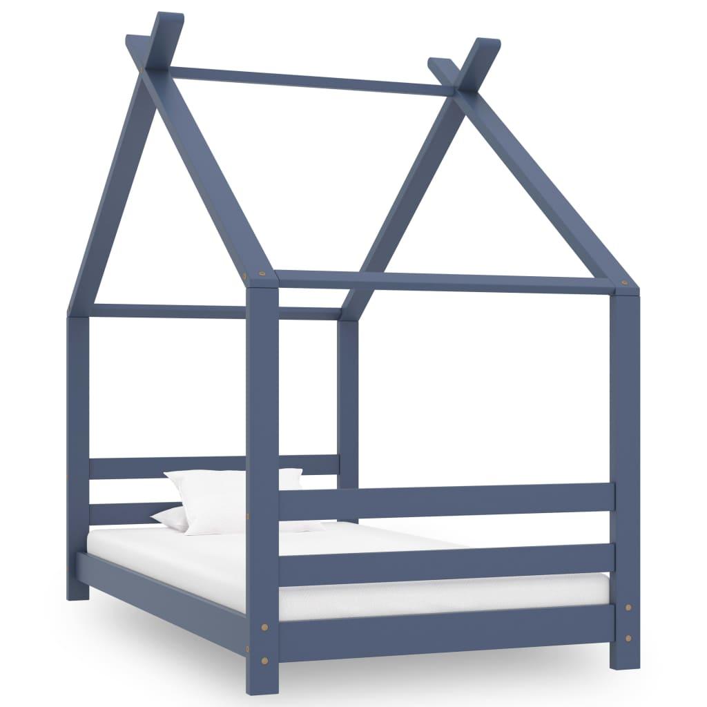 vidaXL Cadru de pat de copii, gri, 80 x 160 cm, lemn masiv de pin vidaxl.ro
