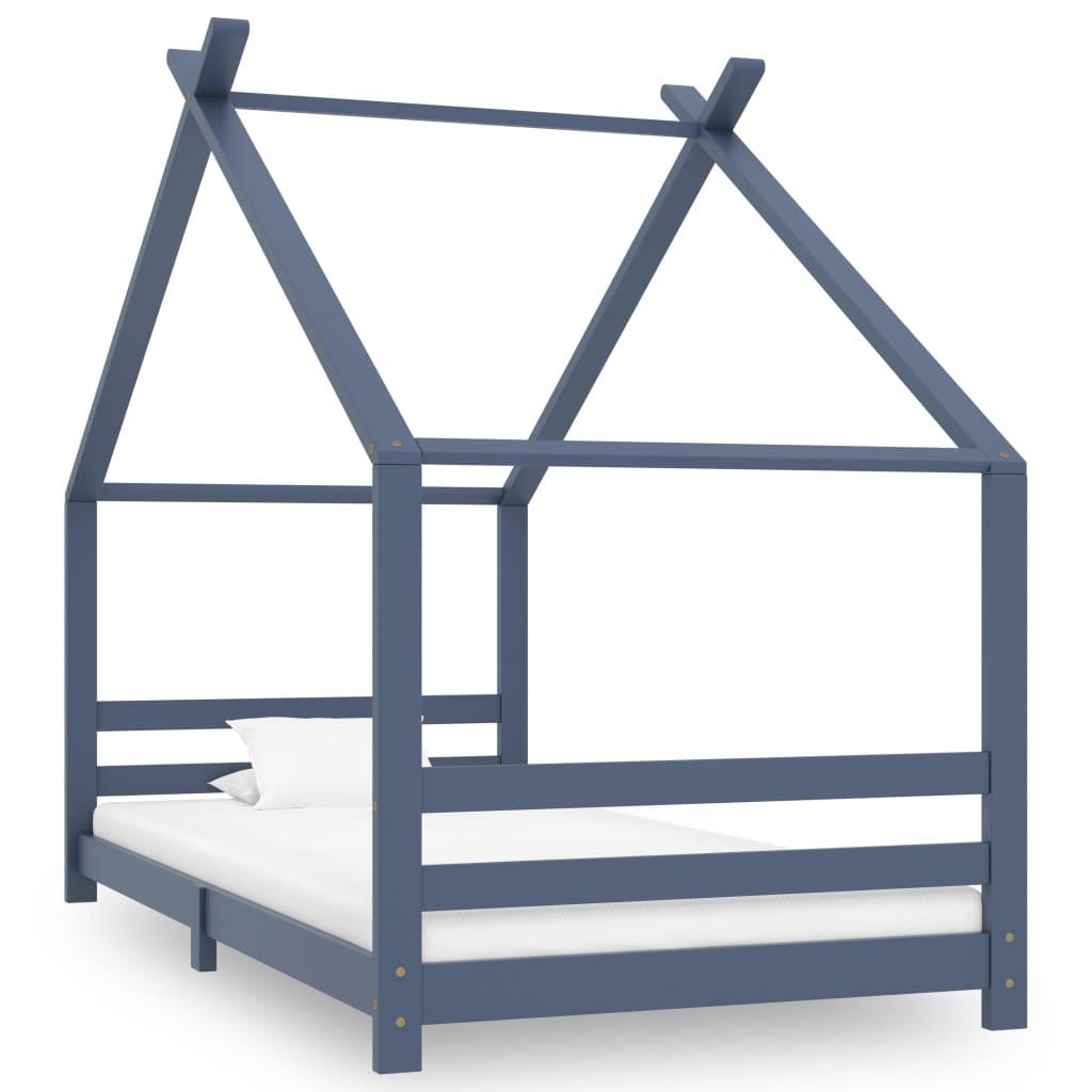 Rám dětské postele šedý masivní borové dřevo 90 x 200 cm