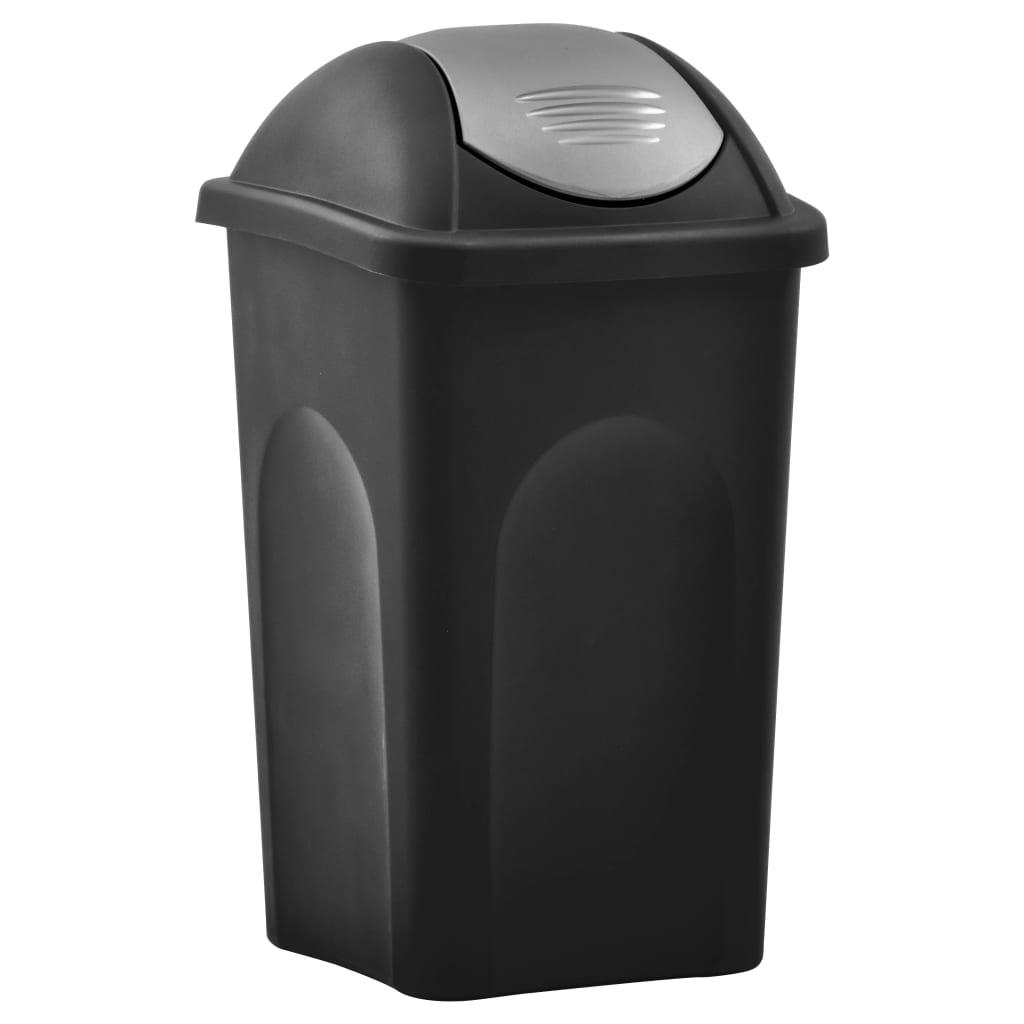 vidaXL Coș de gunoi, capac oscilant, negru și argintiu, 60L vidaxl.ro