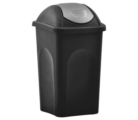 vidaXL Кошче за боклук с люлеещ капак, 60 л, черно и сребристо