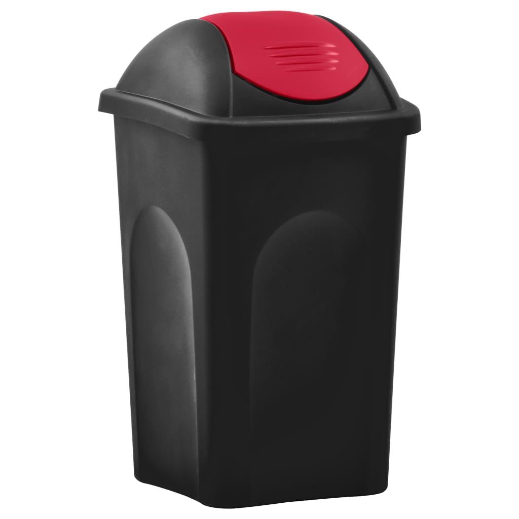vidaXL Coș de gunoi cu capac oscilant, negru și roșu, 60L poza vidaxl.ro