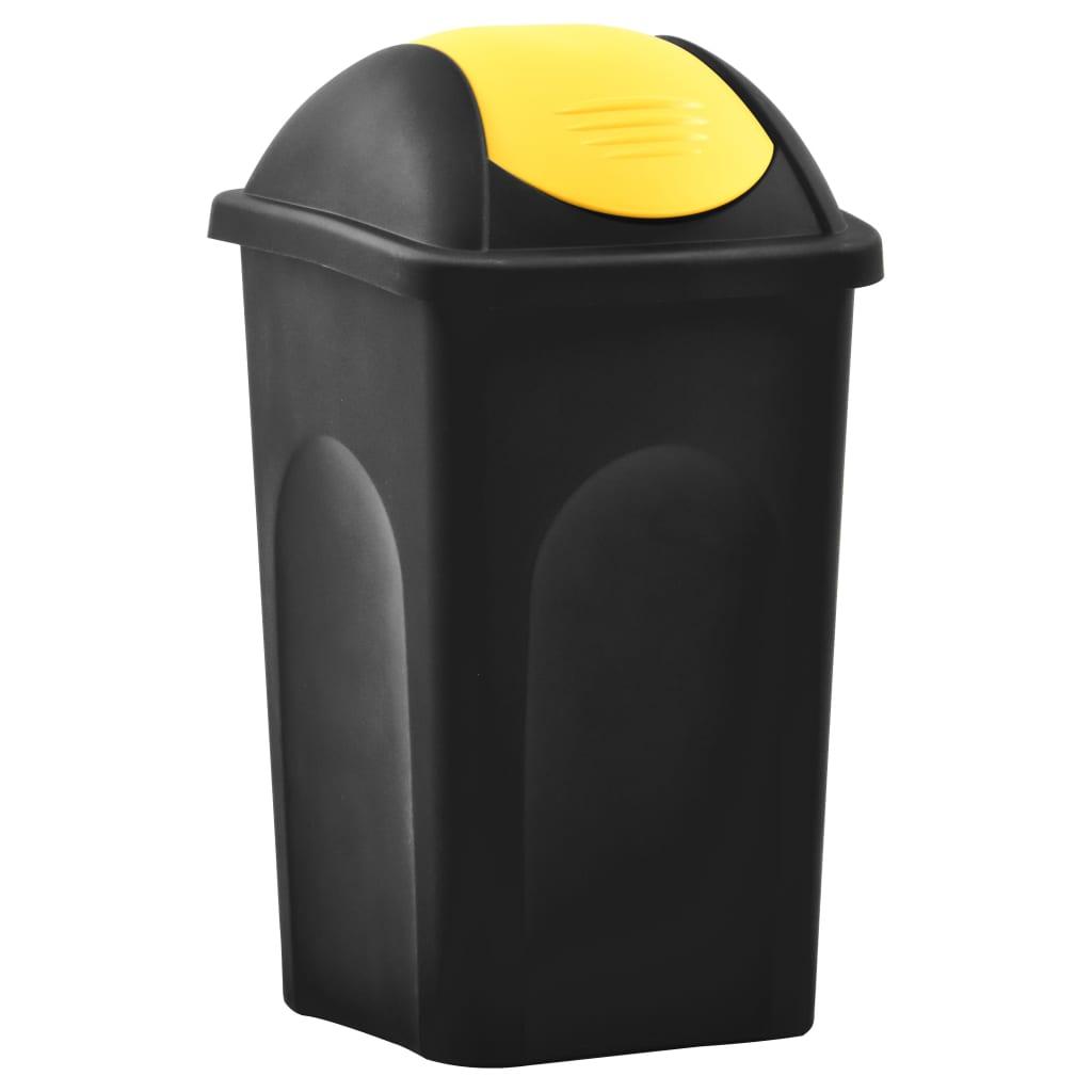 Prügikast kiikuva kaanega, 60 l, must ja kollane