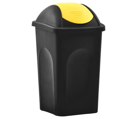 vidaXL Кошче за боклук с люлеещ капак, 60 л, черно и жълто