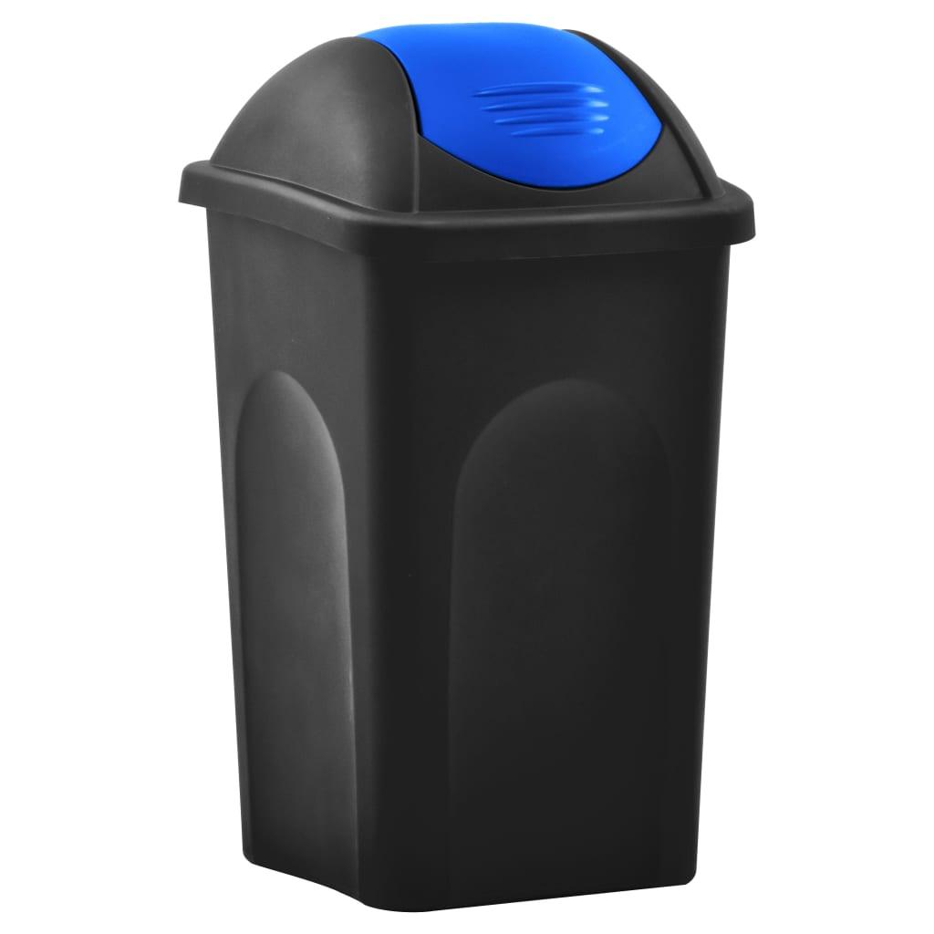 vidaXL Coș de gunoi cu capac oscilant, negru și albastru, 60L poza vidaxl.ro