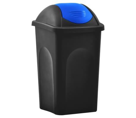 vidaXL Кошче за боклук с люлеещ капак, 60 л, черно и синьо