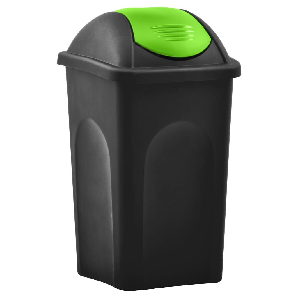 vidaXL Coș de gunoi cu capac oscilant, negru și verde, 60L poza vidaxl.ro