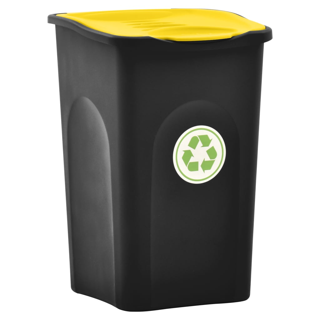 Odpadkový koš s víkem 50 l černý a žlutý