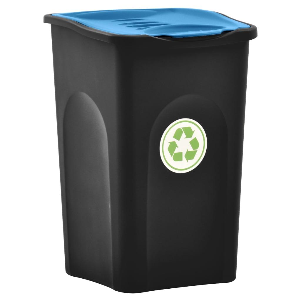 Odpadkový koš s víkem 50 l černý a modrý