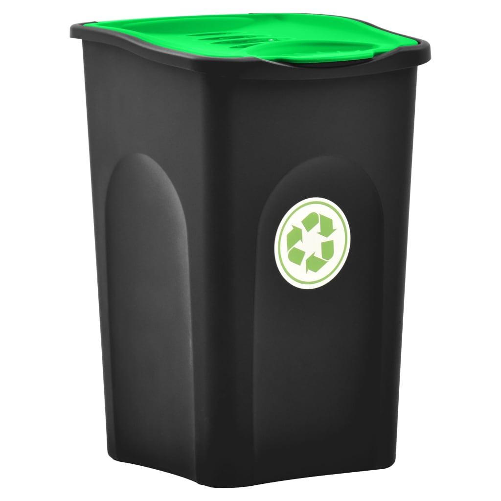 vidaXL Pubelă capac cu balamale, negru și verde, 50L poza vidaxl.ro