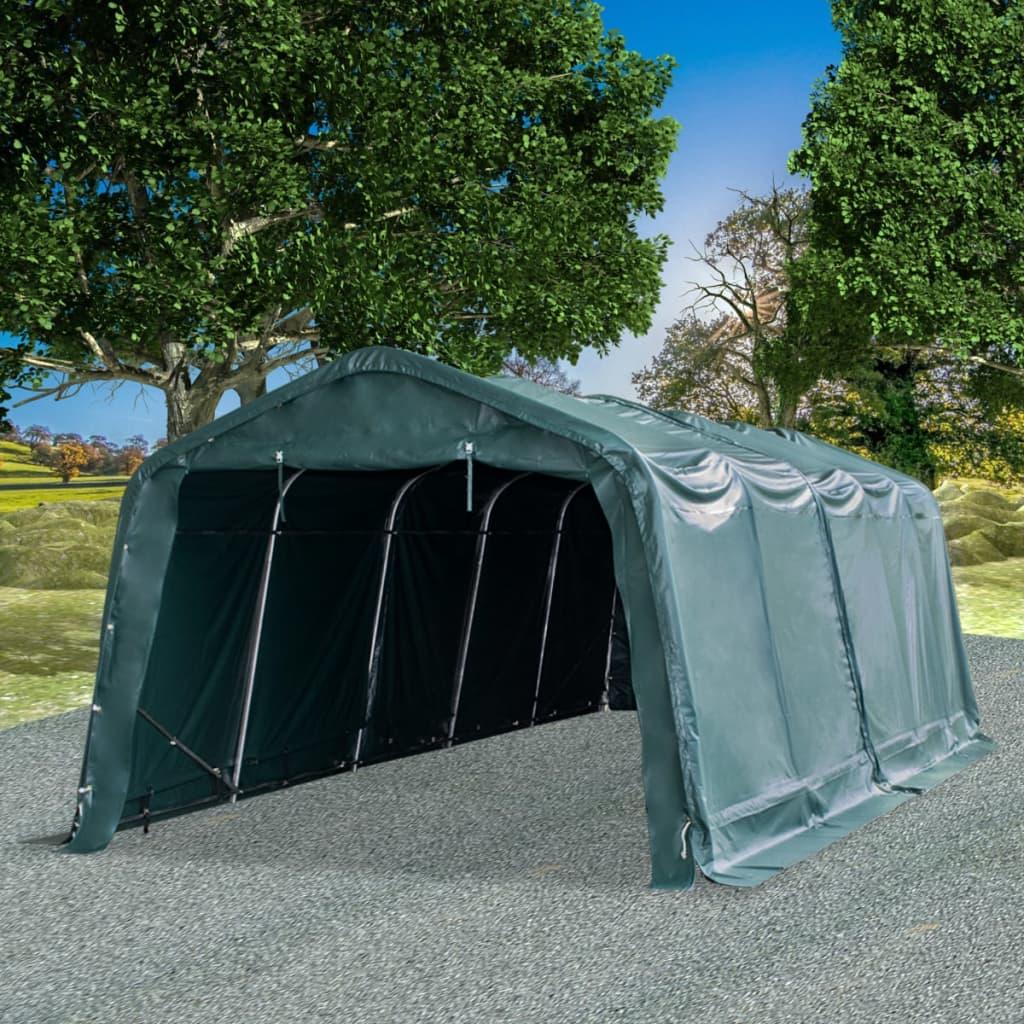 Mobilní přístřešek pro zvířata PVC 550 g/m² 3,3x8 m tm. zelený