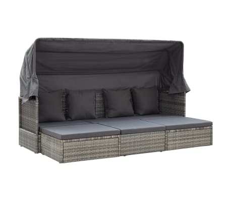 """vidaXL Garden Lounge Bed with Roof Gray 78.7""""x23.6""""x48.8"""" Poly Rattan"""