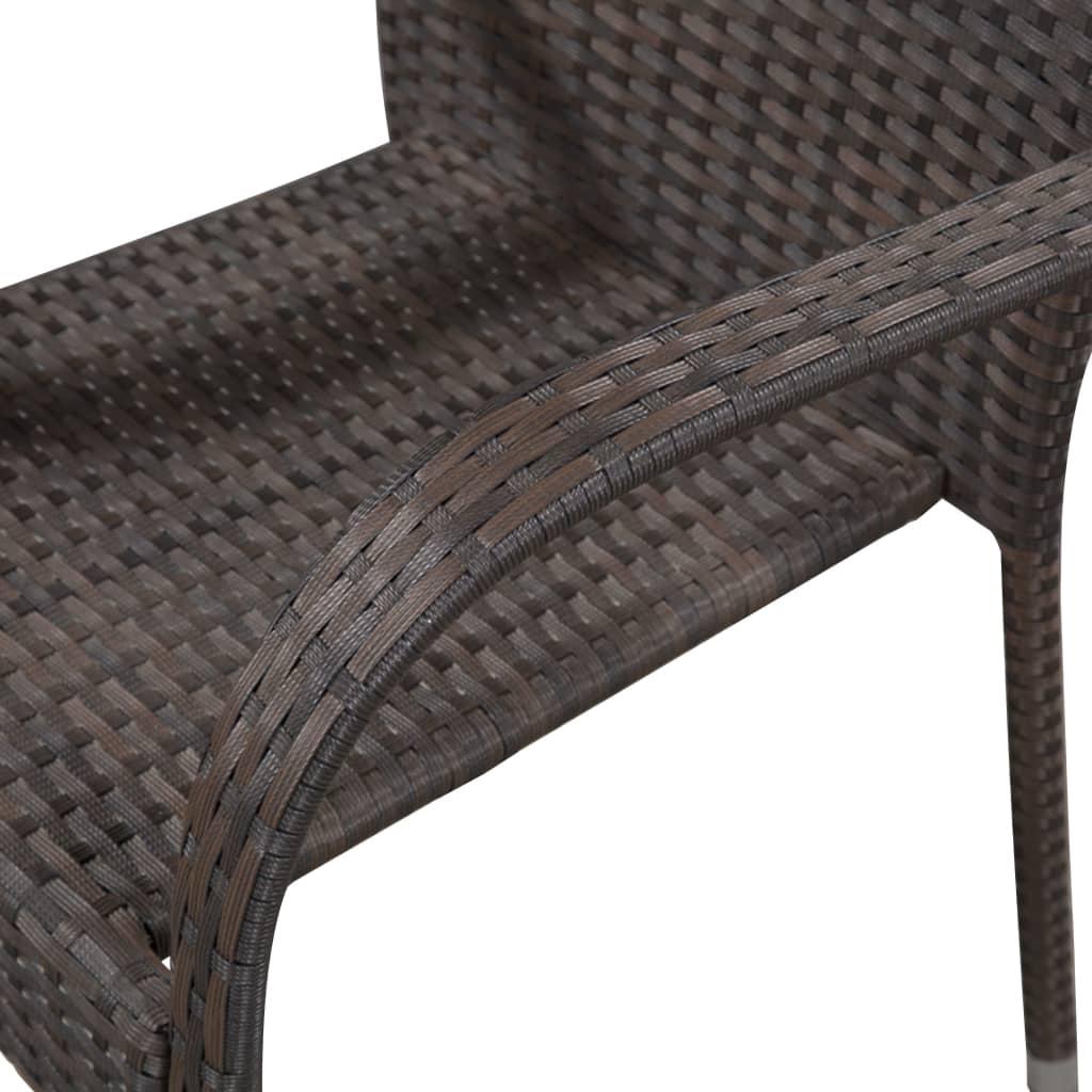 vidaXL Tuinstoelen stapelbaar 4 st poly rattan bruin