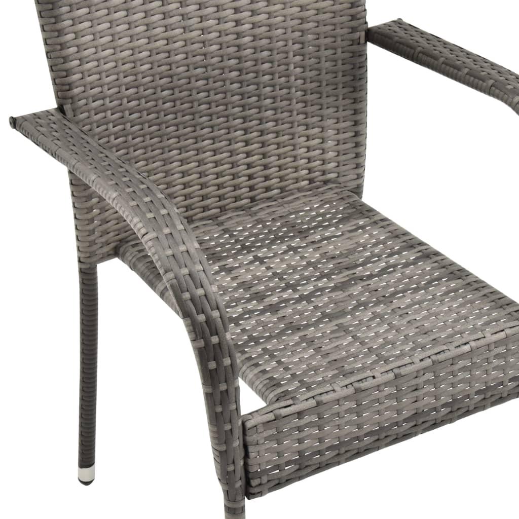 vidaXL Tuinstoelen stapelbaar 6 st poly rattan grijs