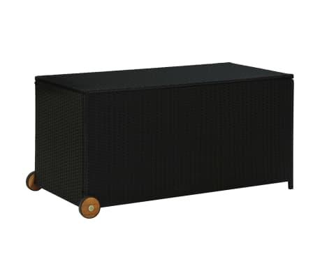 vidaXL Garden Storage Box Black 130x65x115 cm Poly Rattan