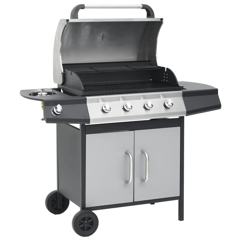 vidaXL Plynový gril 4+1 hořáky černý a stříbrný ocel a nerezová ocel