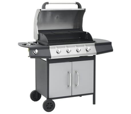 vidaXL Gasbarbecue 4+1 kookzone zwart en zilverkleurig