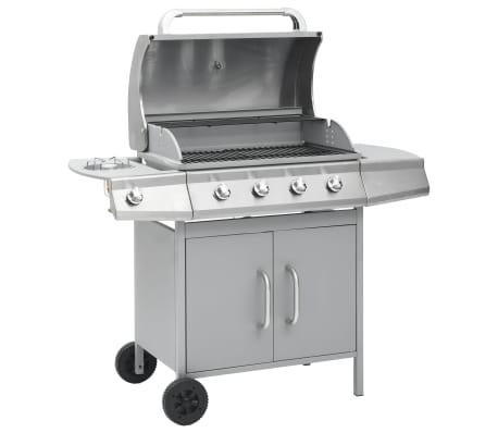 vidaXL Barbecue à gaz 4+1 zones de cuisson Argenté