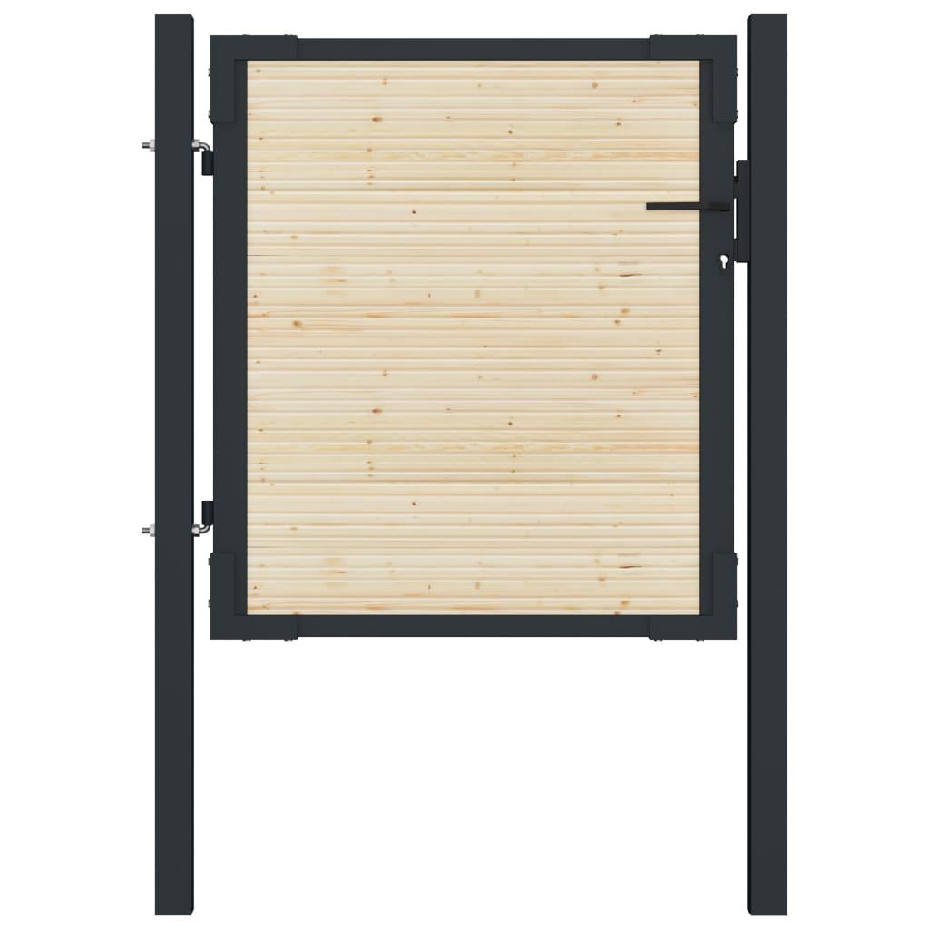 vidaXL Poartă de gard, 107 x 150 cm, oțel și lemn de molid vidaxl.ro