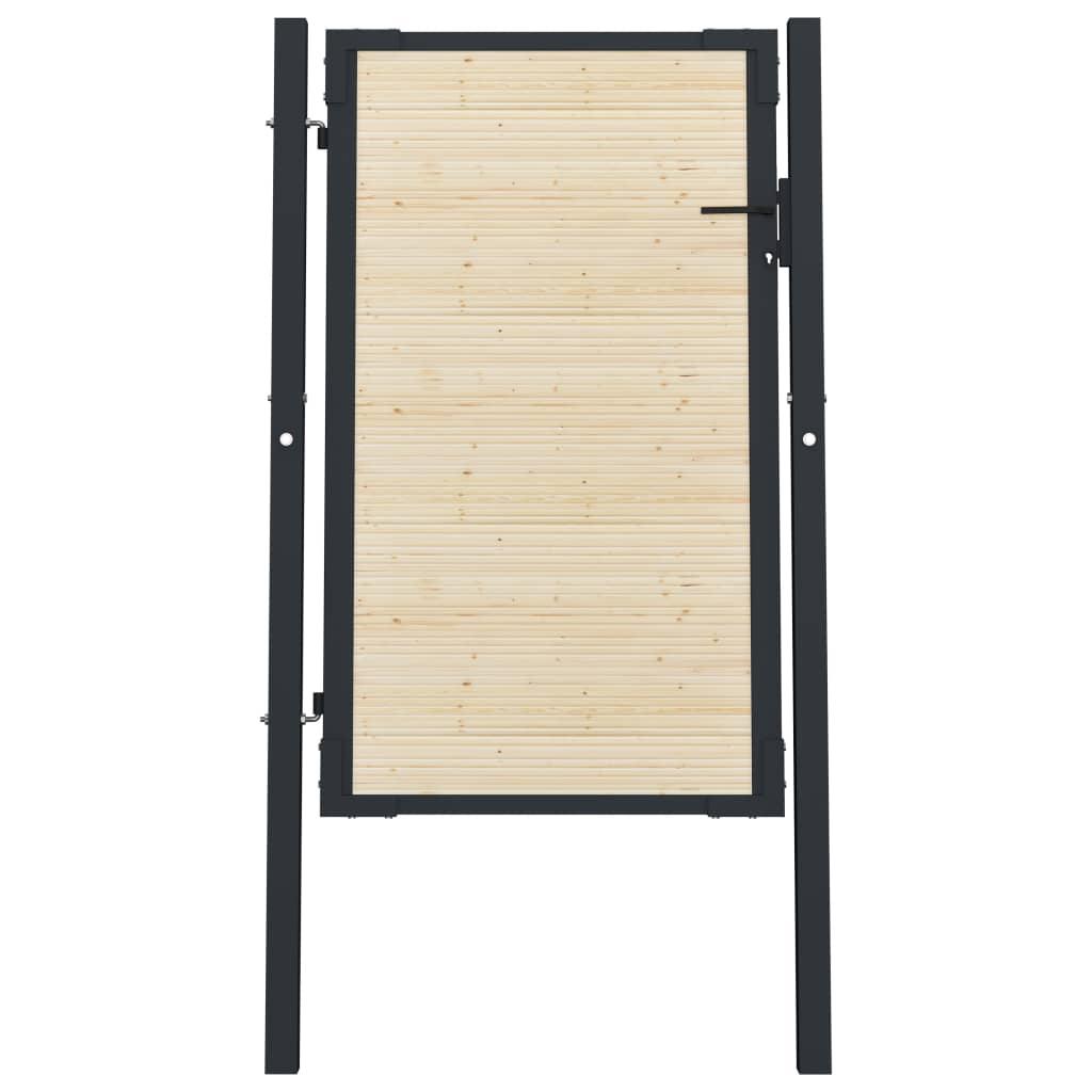 vidaXL Poartă de gard, 107 x 200 cm, oțel și lemn de molid vidaxl.ro